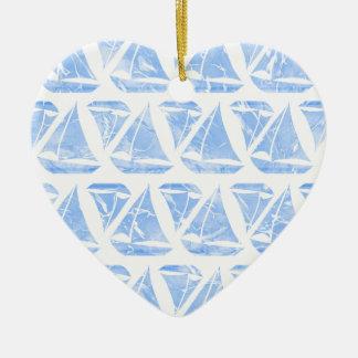 Blaues Segelboot-Wasser-Muster Keramik Herz-Ornament
