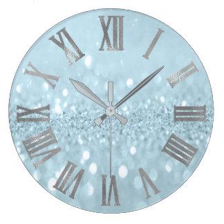 Blaues silbernes Glitzer-graues Metallrömische Große Wanduhr