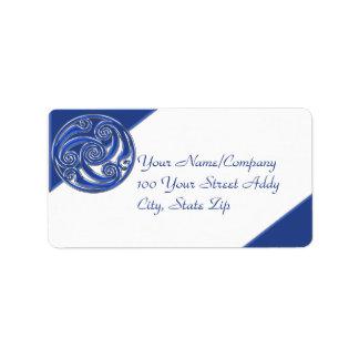 Blaues silbernes Triskel Adress Aufkleber