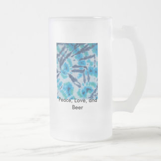 Blaues Soul, Frieden, Liebe und Bier Mattglas Bierglas
