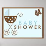 Blaues Spaziergänger-Babyparty-Zeichen Plakate