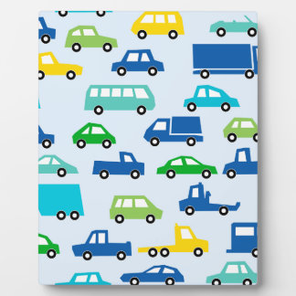 blaues Spielzeugautomuster - Automobilillustration Fotoplatte