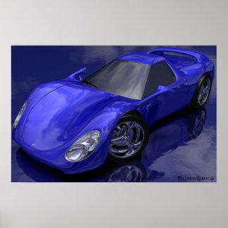 Blaues Sport-Auto Plakate