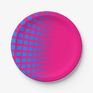 Blaues Squres und Pink Paperplates Pappteller