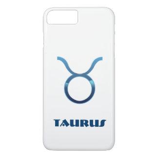 Blaues Stier-Tierkreis-Zeichen auf Weiß iPhone 7 Plus Hülle