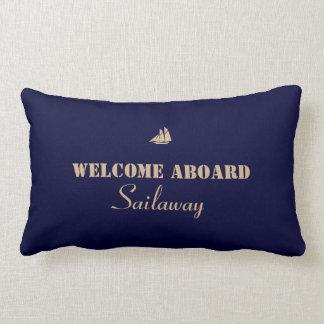 Blaues TAN-Willkommen an Bord des Bootes nautisch Lendenkissen