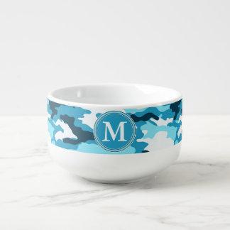 Blaues Tarnungs-Muster-Initialen-Monogramm Große Suppentasse