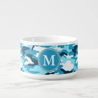 Blaues Tarnungs-Muster-Initialen-Monogramm Kleine Suppentasse