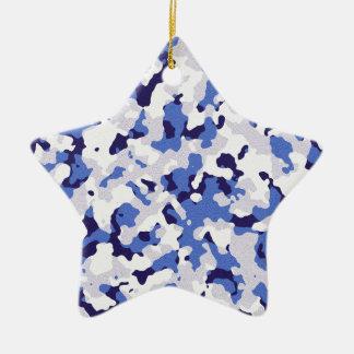 Blaues Tarnungsmuster Keramik Stern-Ornament