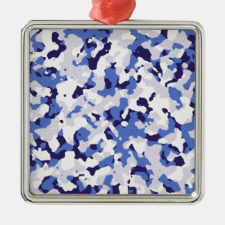 Blaues Tarnungsmuster Silbernes Ornament
