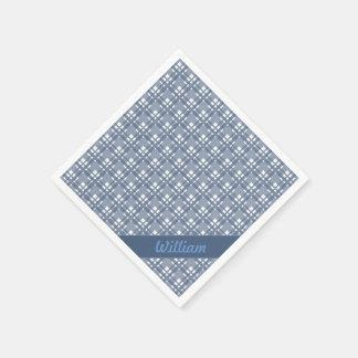 Blaues Tartanpastellmuster mit Namensservietten Papierserviette