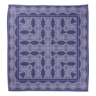 Blaues Taschentuch mit weißer Verzierung Halstuch