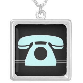 Blaues Telefon Versilberte Kette
