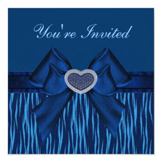 Blaues Tierdruck-, Bogen-u. Juwel-Herz-Party lädt Quadratische 13,3 Cm Einladungskarte