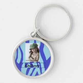 Blaues Tierdruck-Foto keychain Schlüsselanhänger