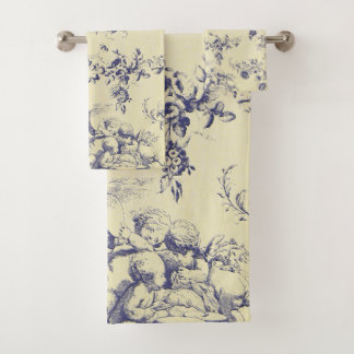 Blaues Toile französisches Land-Engel-Muster Badhandtuch Set