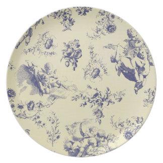 Blaues Toile französisches Land-Engel-Muster Teller