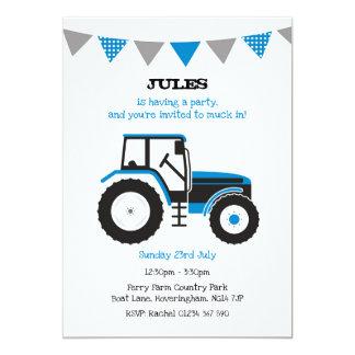 Blaues Traktor-Geburtstags-Party laden ein Karte