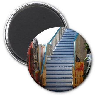 Blaues Treppenhaus Runder Magnet 5,1 Cm