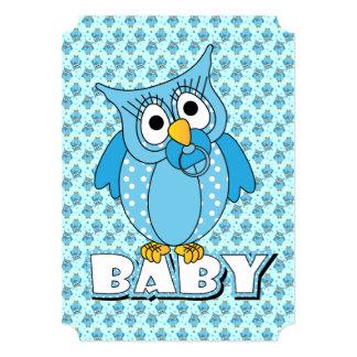 Blaues Tupfen-Eulen-Babyparty-Thema 12,7 X 17,8 Cm Einladungskarte