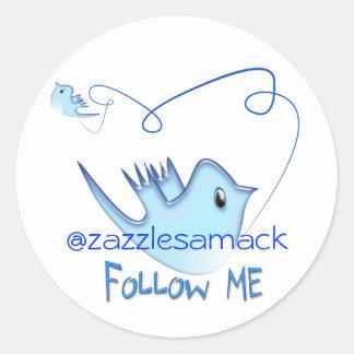 Blaues Twitter-Vogel-Follow-me Runder Aufkleber