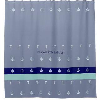 blaues u. See-, stilvolles u. personalisiertes Duschvorhang