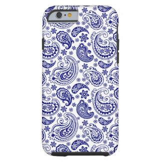 Blaues u weißes Retro Paisley-Schinken-Muster
