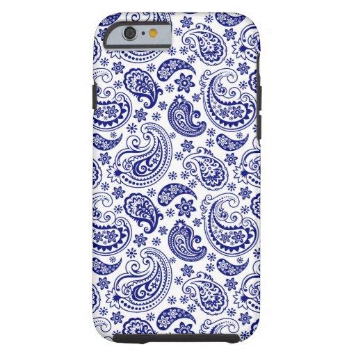 Blaues u. weißes Retro Paisley-Schinken-Muster Tough iPhone 6 Hülle