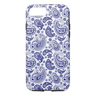 Blaues u. weißes Retro Paisley-Schinken-Muster iPhone 8/7 Hülle