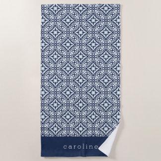Blaues u. weißes spanisches Fliesen-Muster | Strandtuch