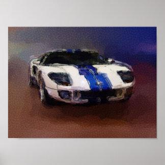 Blaues u. weißes Sportauto Posterdruck