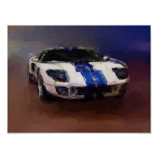 Blaues u. weißes Sportauto Poster