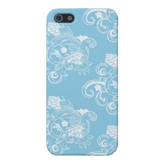 Blaues u. weißes Vintages Blumenmuster Etui Fürs iPhone 5