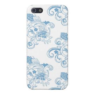 Blaues u. weißes Vintages Blumenmuster Hülle Fürs iPhone 5