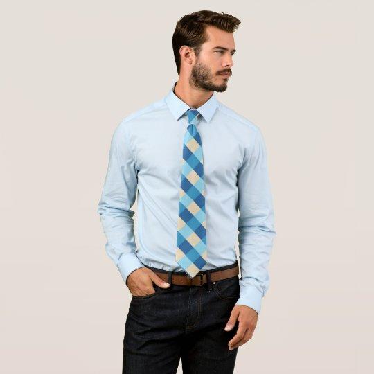 Blaues und beige kariertes Muster Krawatte