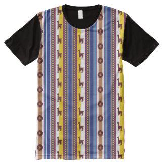 Blaues und braunes peruanisches Lama-Muster T-Shirt Mit Komplett Bedruckbarer Vorderseite