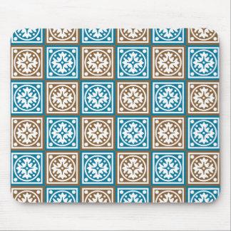 Blaues und braunes Quadratmuster Mousepad