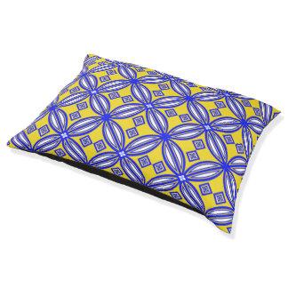 Blaues und gelbes spanisches haustierbett