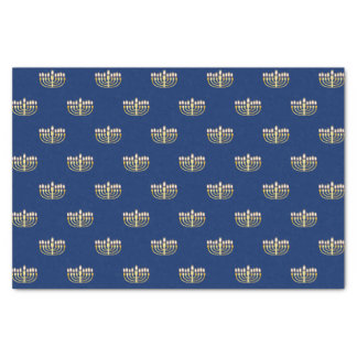 Blaues und goldenes Chanukka Menorah Seidenpapier