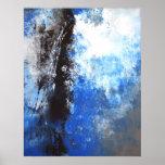 Blaues und graues abstraktes Kunst-Plakat