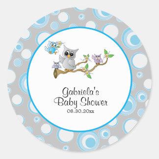 Blaues und graues Baby-Eulen-Babyparty-Thema Runder Aufkleber