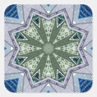 Blaues und grünes abstraktes quadratischer aufkleber