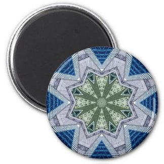 Blaues und grünes abstraktes runder magnet 5,7 cm
