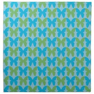 Blaues und grünes dekoratives Schmetterlingsmuster Serviette
