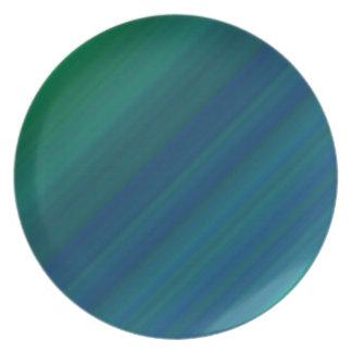 Blaues und grünes Muster Flache Teller