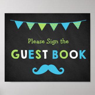 Blaues und grünes Schnurrbart-Tafel-Gast-Buch Poster