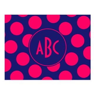 Blaues und helles rosa Punkt-Mitternachtsmonogramm Postkarte