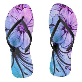 Blaues und lila Blumen Flip Flops
