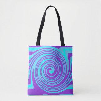 Blaues und lila Strudelmuster Tasche