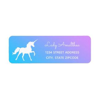 Blaues und lila Unicorn-Adressen-Etikett